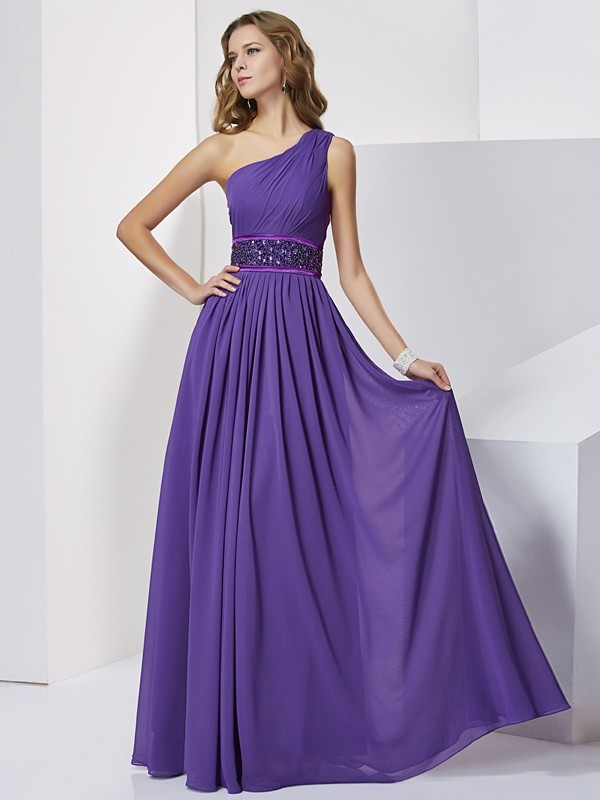 Empire One-Shoulder Sleeveless Floor-Length Chiffon Dresses with Beading