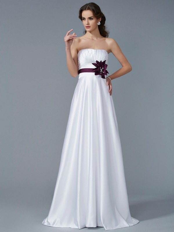 A-Line/Princess Strapless Sleeveless Sweep/Brush Train Satin Dresses with Hand-Made Flower