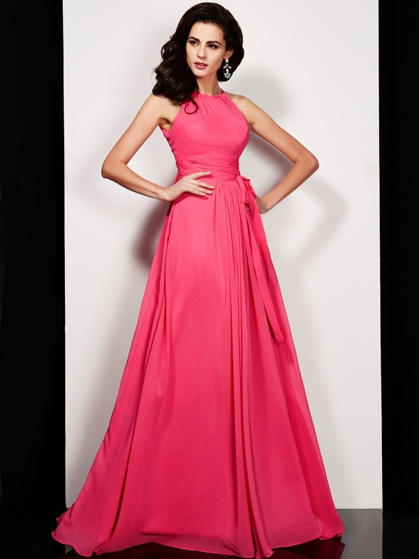 A-Line/Princess High Neck Sleeveless Floor-Length Chiffon Dresses with Sash/Ribbon/Belt Pleats