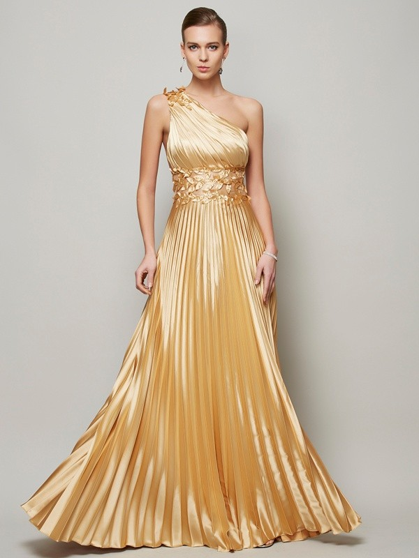 A-Line/Princess One-Shoulder Sleeveless Floor-Length Elastic Woven Satin Dresses with Hand-Made Flower