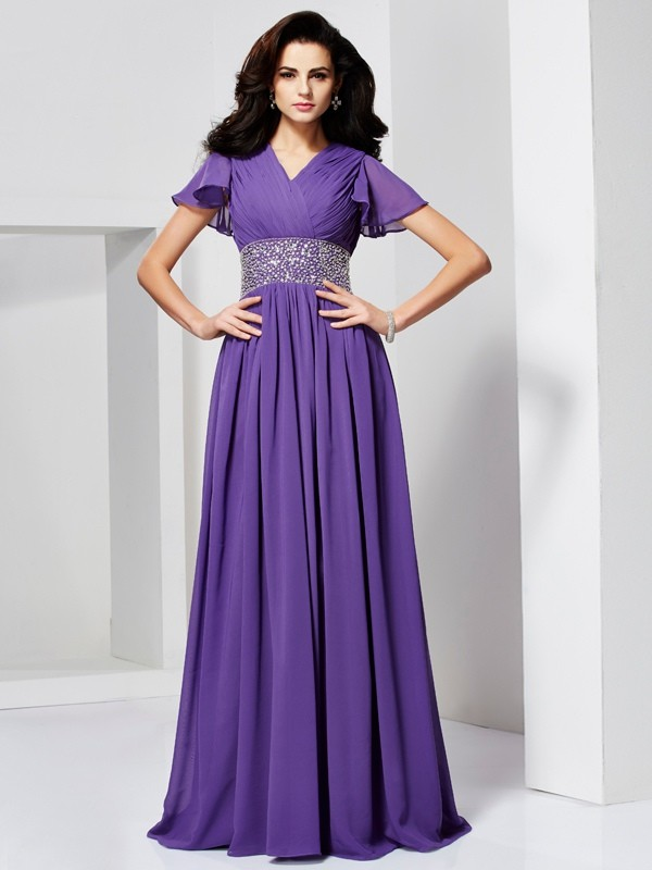 A-Line/Princess V-neck Short Sleeves Floor-Length Chiffon Dresses with Beading