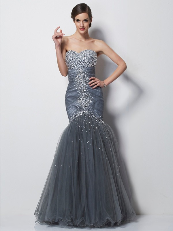 Trumpet/Mermaid Sweetheart Sleeveless Floor-Length Satin Net Dresses with Beading