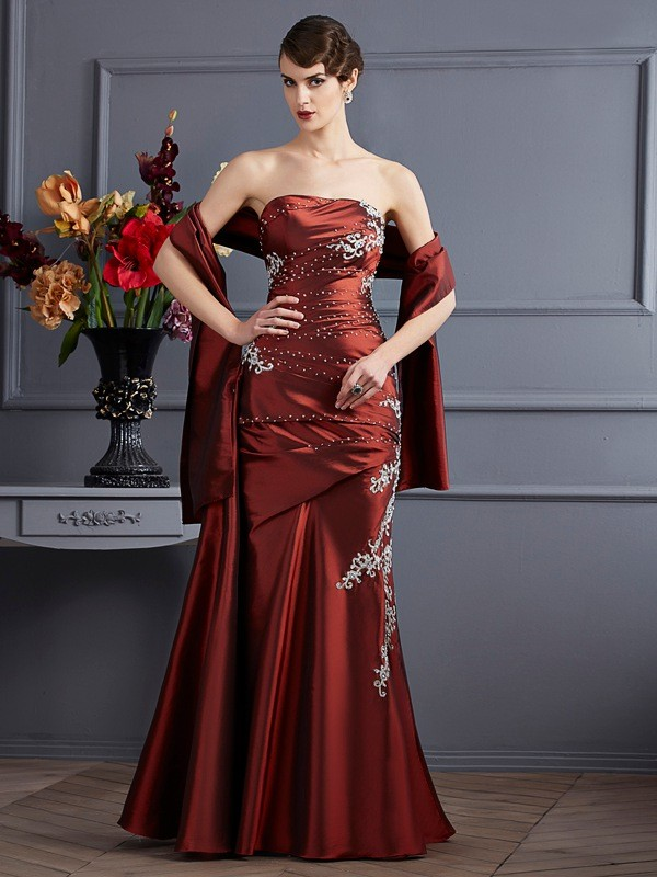 Sheath/Column Strapless Sleeveless Floor-Length Taffeta Dresses with Beading Applique