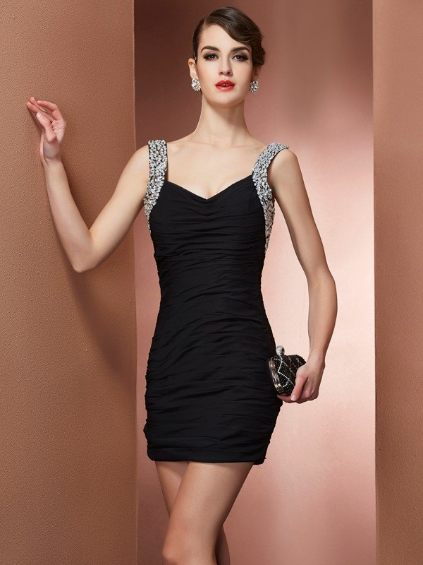 Sheath/Column Straps Sleeveless Short/Mini Chiffon Dresses with Beading