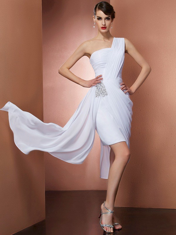 Sheath/Column One-Shoulder Sleeveless Short/Mini Chiffon Dresses with Beading Pleats
