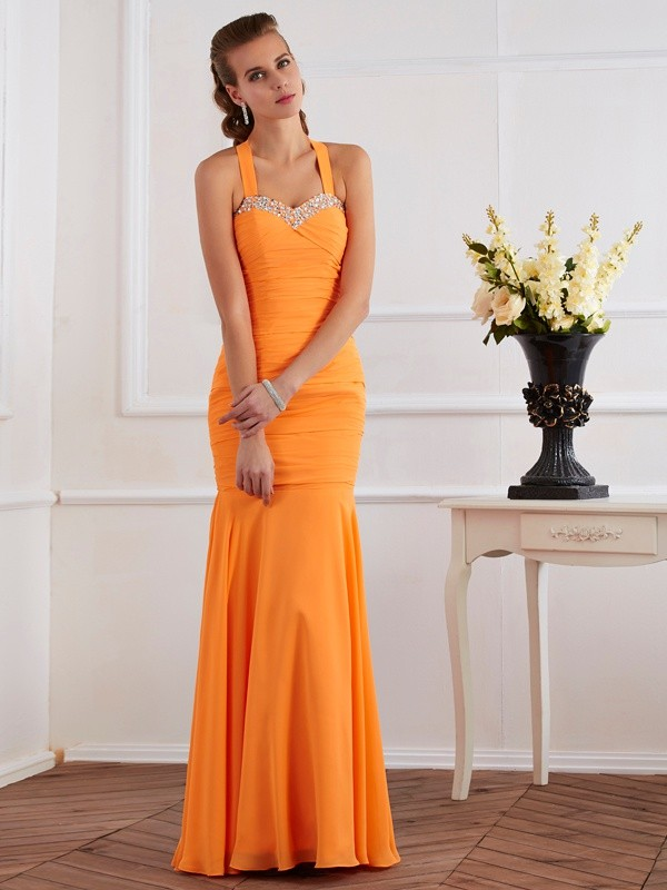 Trumpet/Mermaid Halter Sleeveless Floor-Length Chiffon Dresses with Beading