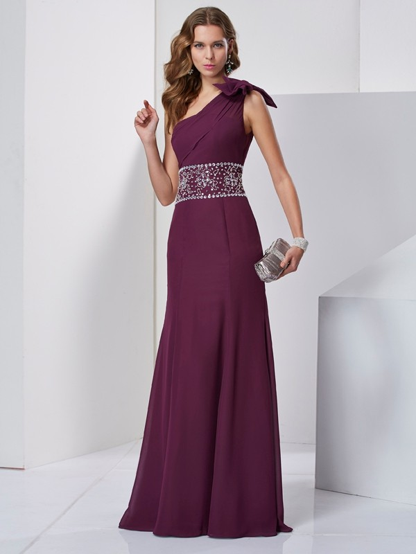 A-Line/Princess One-Shoulder Sleeveless Floor-Length Chiffon Dresses with Beading