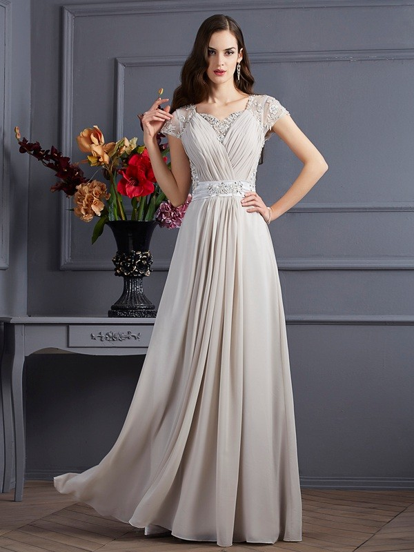 A-Line/Princess Sweetheart Short Sleeves Floor-Length Chiffon Dresses with Beading Applique