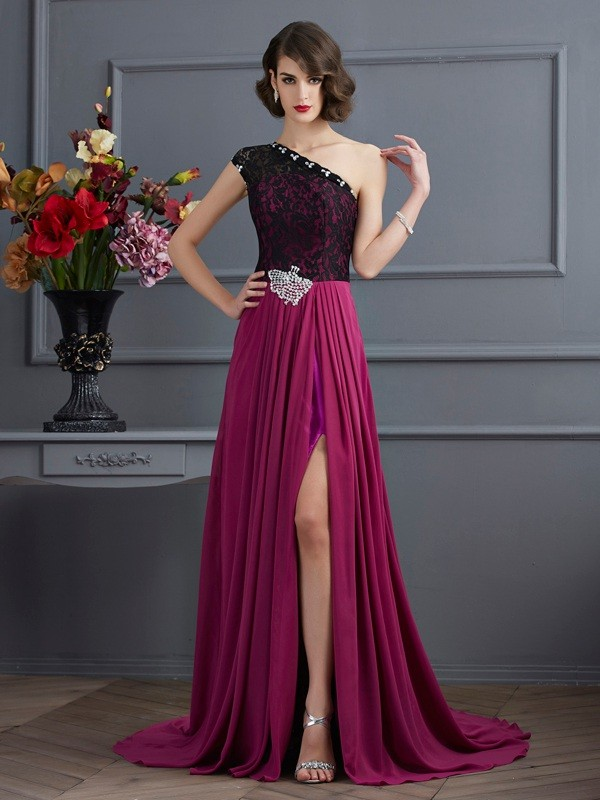 A-Line/Princess One-Shoulder Sleeveless Sweep/Brush Train Chiffon Dresses with Lace