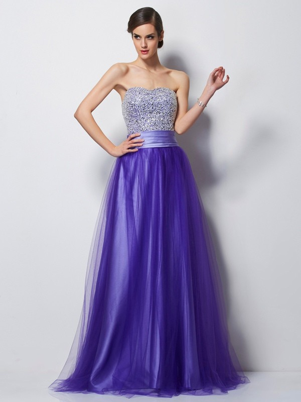 A-Line/Princess Sweetheart Sleeveless Floor-Length Satin Net Dresses with Beading