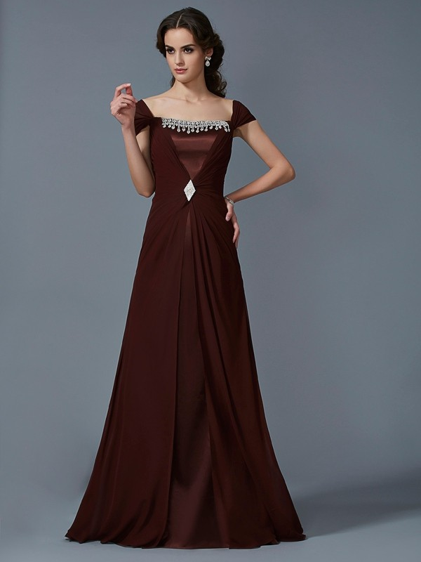A-Line/Princess Strapless Short Sleeves Floor-Length Chiffon Taffeta Dresses
