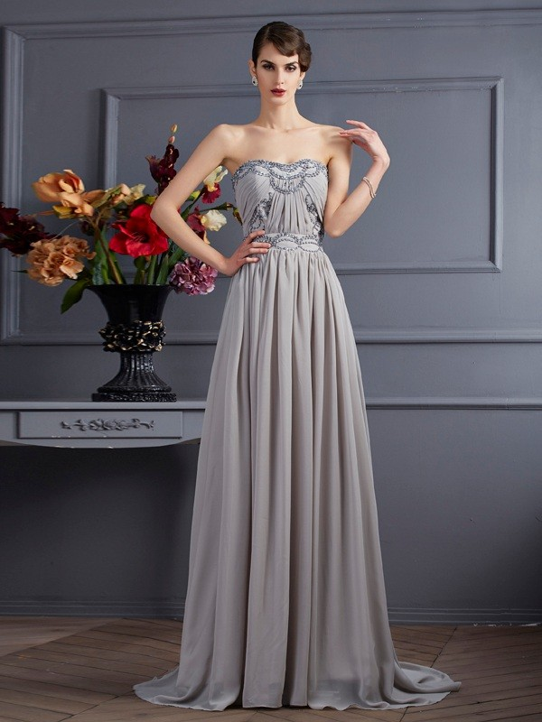 A-Line/Princess Sweetheart Sleeveless Sweep/Brush Train Chiffon Dresses with Beading Pleats