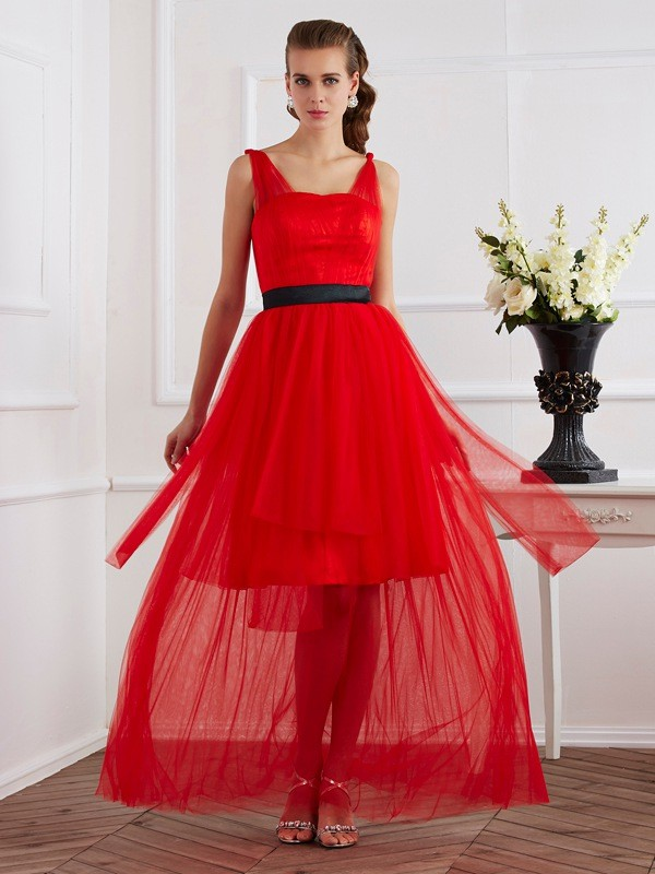 A-Line/Princess Straps Sleeveless Ankle-Length Elastic Woven Satin Dresses with Pleats