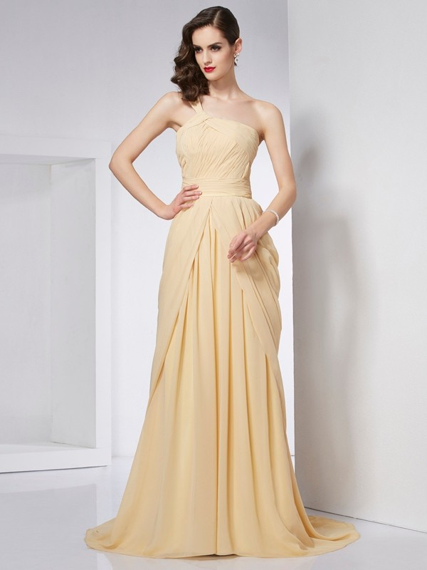 A-Line/Princess One-Shoulder Sleeveless Chapel Train Chiffon Dresses with Pleats
