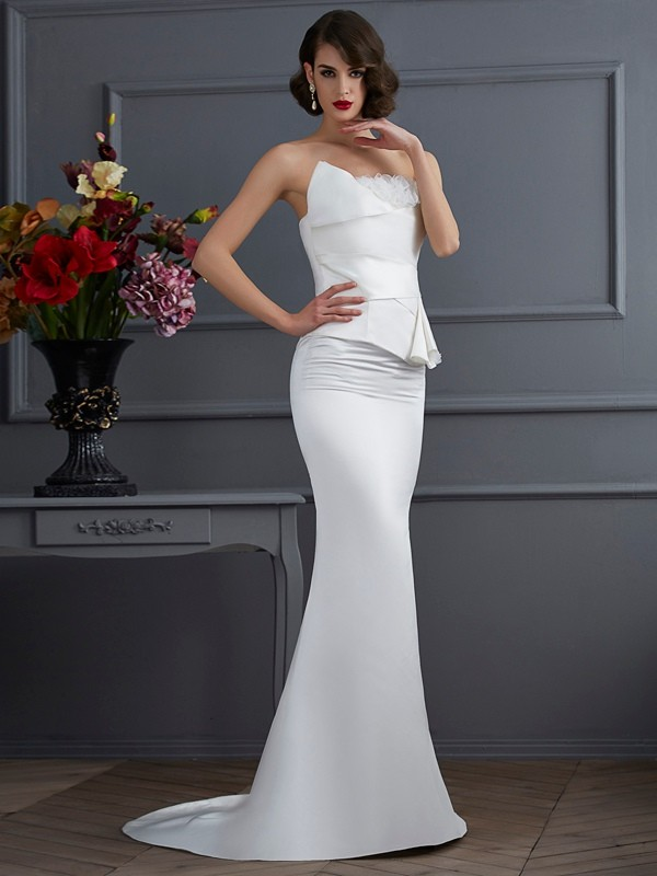 Trumpet/Mermaid Strapless Sleeveless Sweep/Brush Train Satin Dresses with Hand-Made Flower