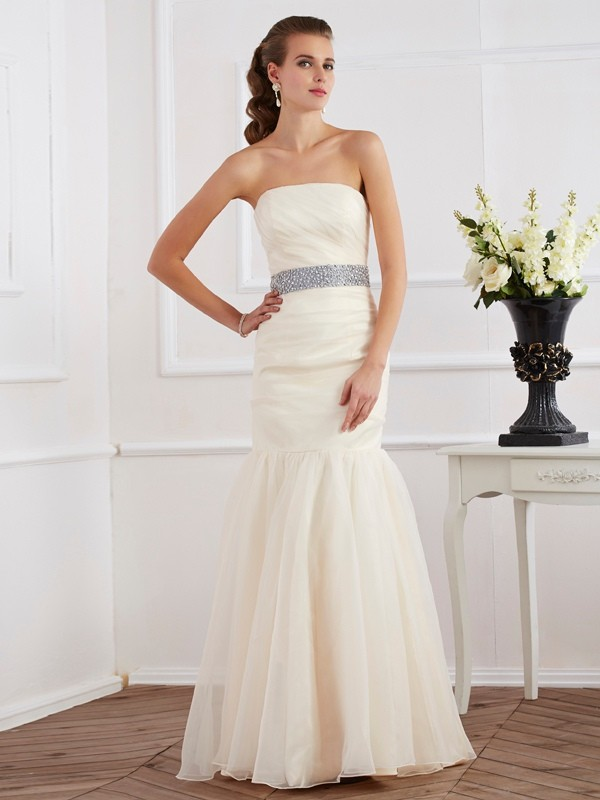 Trumpet/Mermaid Strapless Sleeveless Floor-Length Organza Dresses with Sash/Ribbon/Belt