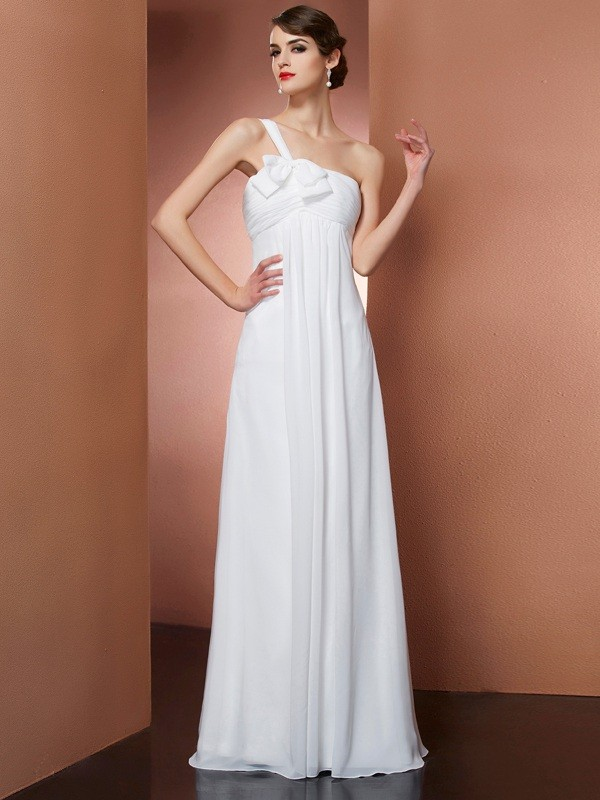 A-Line/Princess One-Shoulder Sleeveless Floor-Length Chiffon Dresses with Bowknot