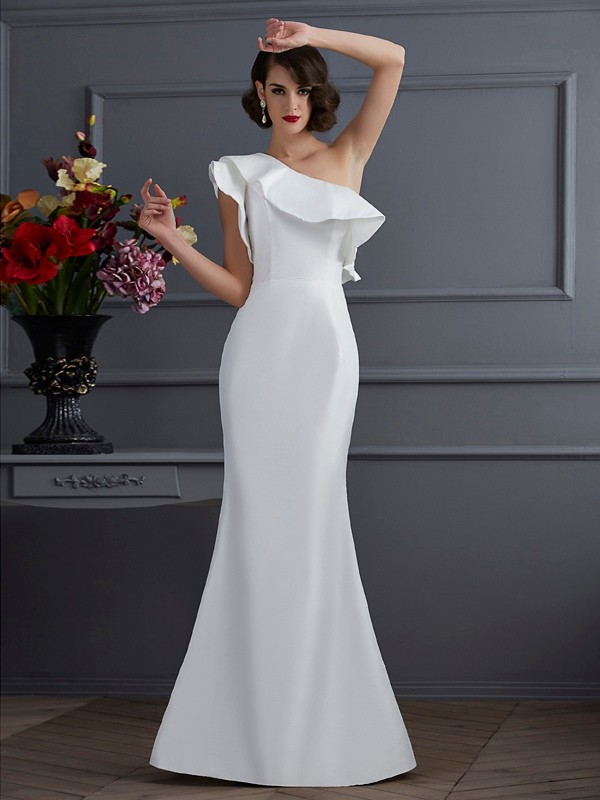 Trumpet/Mermaid One-Shoulder Sleeveless Floor-Length Taffeta Dresses with Ruffles