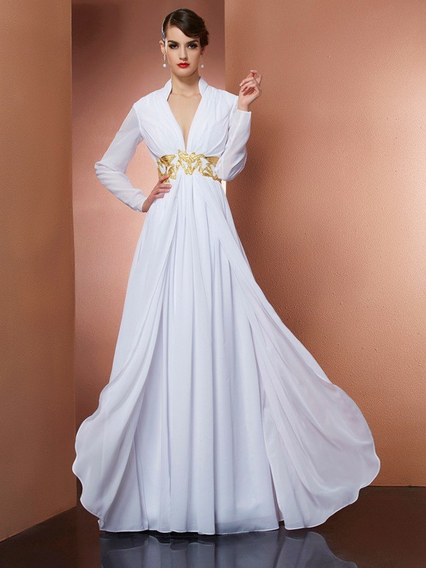 A-Line/Princess V-neck Long Sleeves Floor-Length Chiffon Dresses