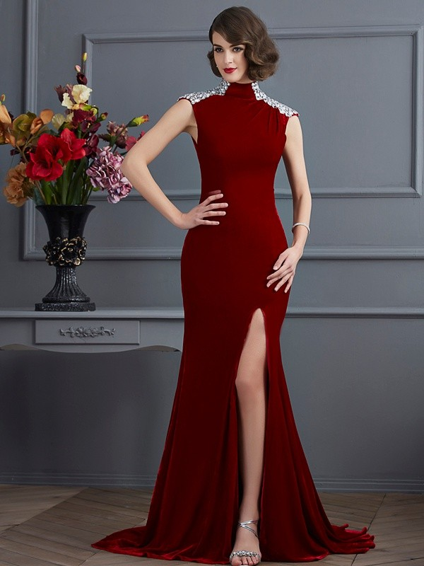 A-Line/Princess High Neck Sleeveless Sweep/Brush Train Other Dresses with Beading