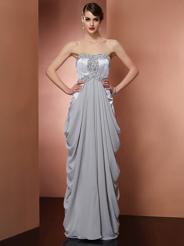 Sheath/Column Strapless Sleeveless Floor-Length Chiffon Dresses with Beading
