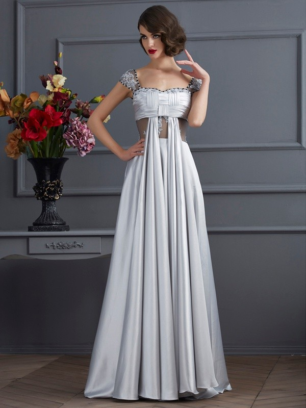 A-Line/Princess Off-the-Shoulder Sleeveless Floor-Length Elastic Woven Satin Dresses with Pleats
