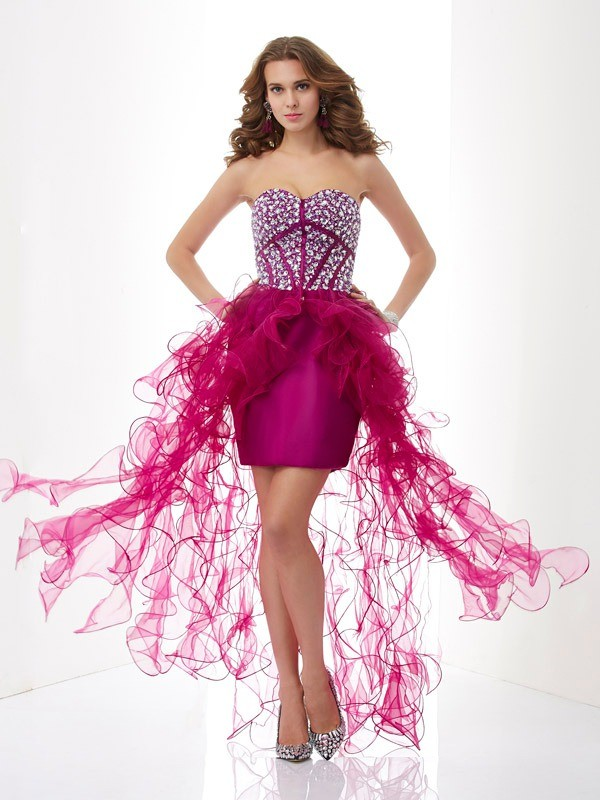Sheath/Column Sweetheart Sleeveless Short/Mini Elastic Woven Satin Tulle Dresses with Beading