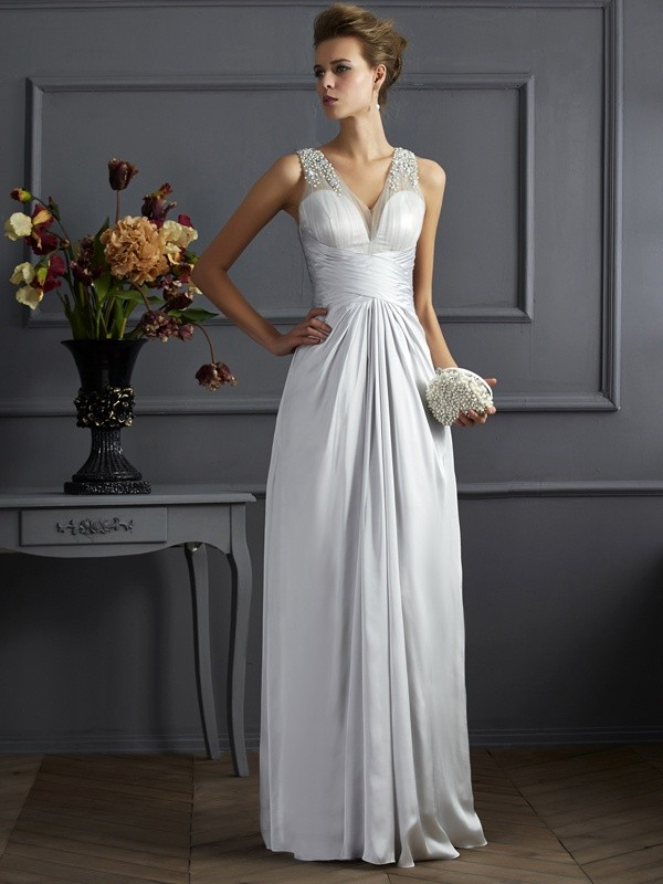 A-Line/Princess Straps Sleeveless Floor-Length Silk like Satin Dresses with Beading