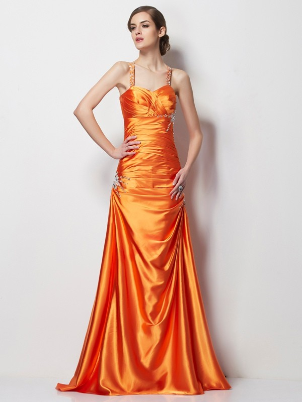 A-Line/Princess Spaghetti Straps Sleeveless Sweep/Brush Train Elastic Woven Satin Dresses with Beading