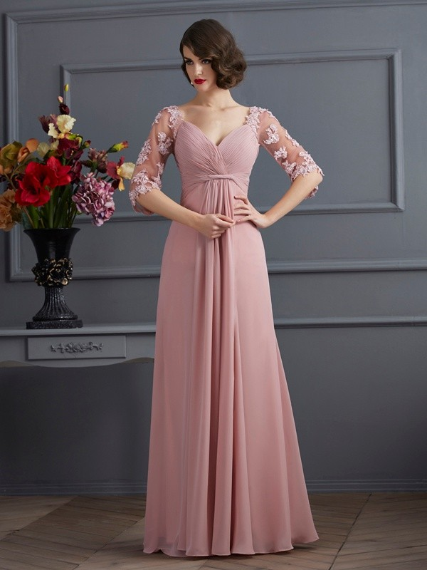 A-Line/Princess Sweetheart 1/2 Sleeves Floor-Length Chiffon Dresses with Beading Applique