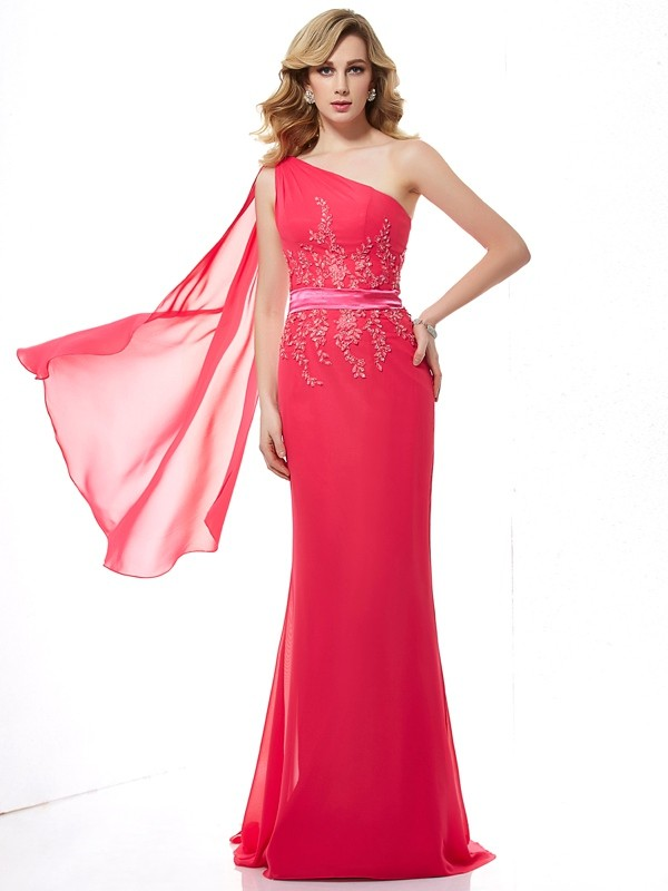 Sheath/Column One-Shoulder Sleeveless Sweep/Brush Train Chiffon Dresses with Beading Applique