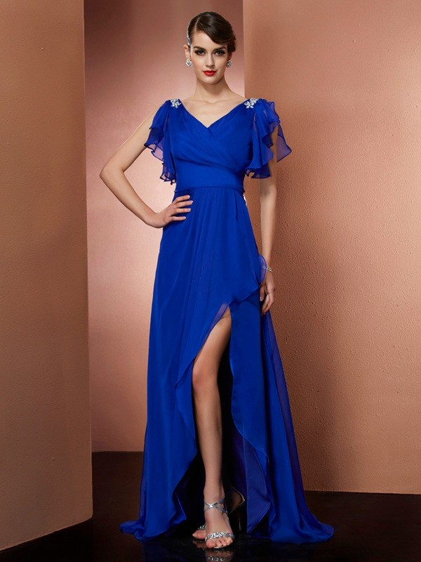 A-Line/Princess V-neck Sleeveless Asymmetrical Chiffon Dresses with Beading