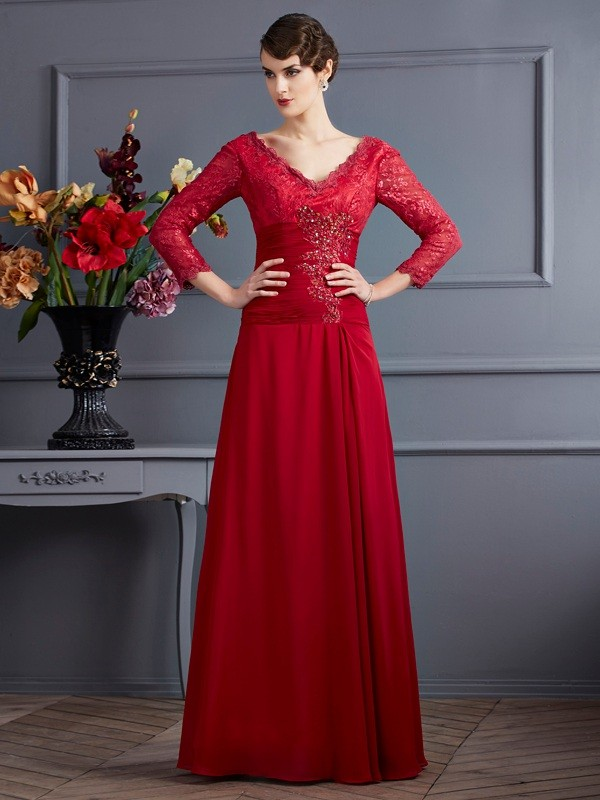 Sheath/Column V-neck 3/4 Sleeves Floor-Length Chiffon Dresses with Lace