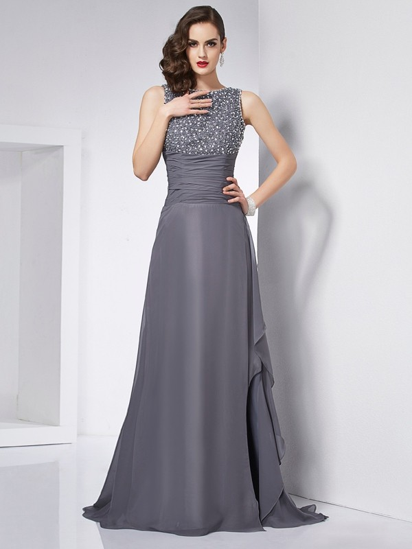 A-Line/Princess Jewel Sleeveless Sweep/Brush Train Chiffon Dresses with Beading