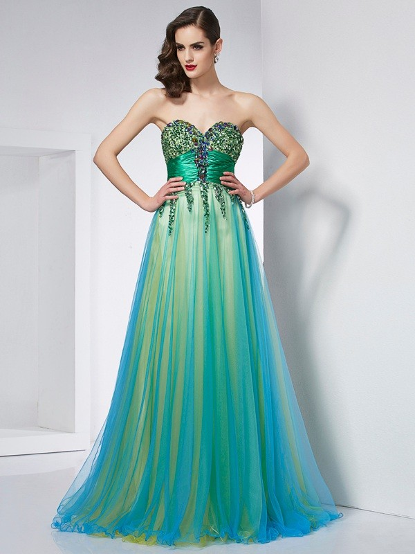 Ball Gown Sweetheart Sleeveless Sweep/Brush Train Elastic Woven Satin Net Dresses with Ruffles
