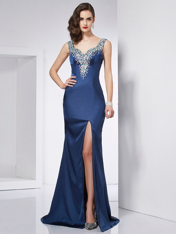 Trumpet/Mermaid Straps Sleeveless Sweep/Brush Train Elastic Woven Satin Dresses with Beading