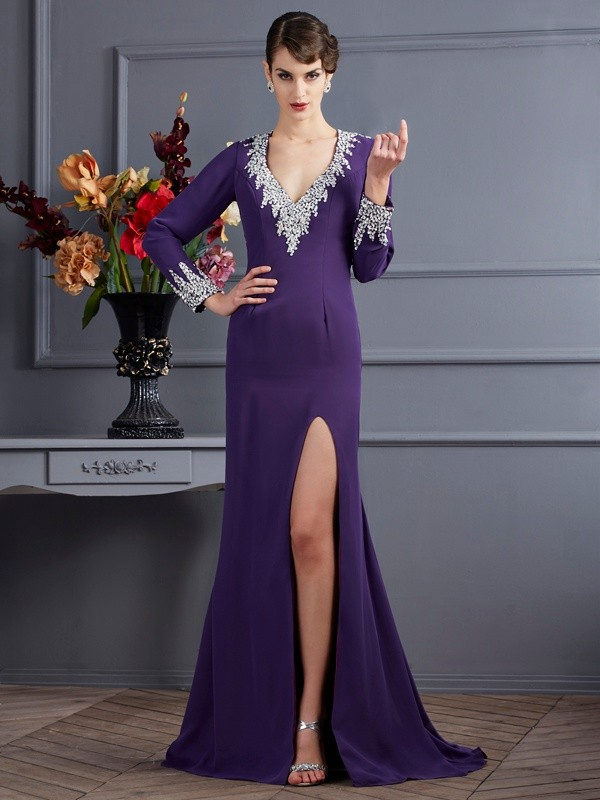 Trumpet/Mermaid V-neck Long Sleeves Sweep/Brush Train Chiffon Dresses with Beading