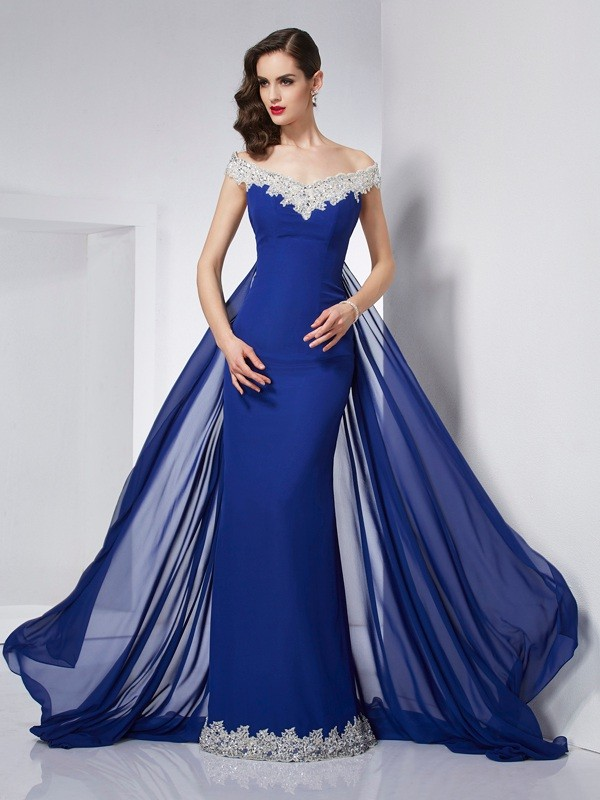 Trumpet/Mermaid Off-the-Shoulder Sleeveless Floor-Length Chiffon Dresses with Applique