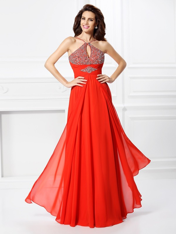 A-Line/Princess Other Sleeveless Floor-Length Chiffon Dresses with Beading