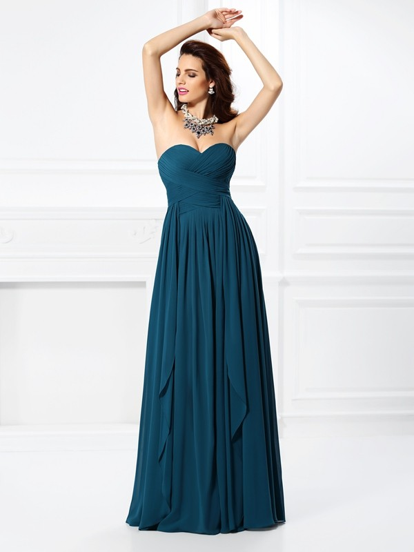 A-Line/Princess Sweetheart Sleeveless Floor-Length Chiffon Dresses with Ruffles Pleats