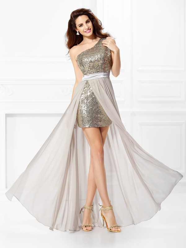 A-Line/Princess One-Shoulder Sleeveless Floor-Length Chiffon Dresses with Sequin