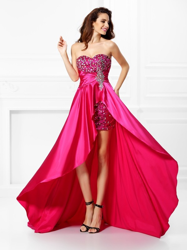 A-Line/Princess Sweetheart Sleeveless Asymmetrical Elastic Woven Satin Dresses with Beading Paillette