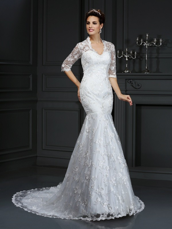 Trumpet/Mermaid V-neck 1/2 Sleeves Court Train Lace Wedding Dresses with Lace