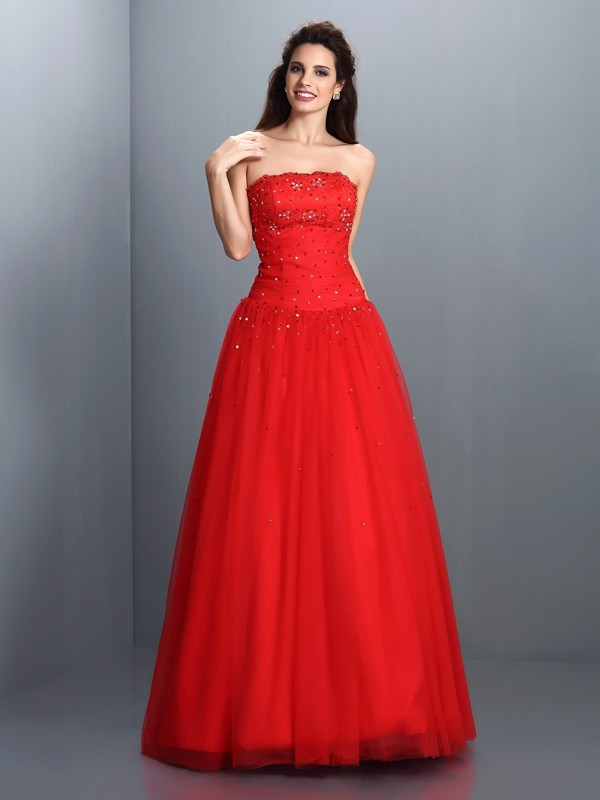 Ball Gown Strapless Sleeveless Floor-Length Organza Dresses with Beading