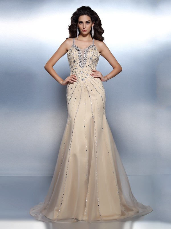 Trumpet/Mermaid Spaghetti Straps Sleeveless Sweep/Brush Train Organza Dresses with Beading