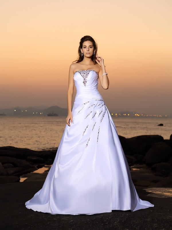 A-Line/Princess Strapless Sleeveless Chapel Train Satin Wedding Dresses with Beading