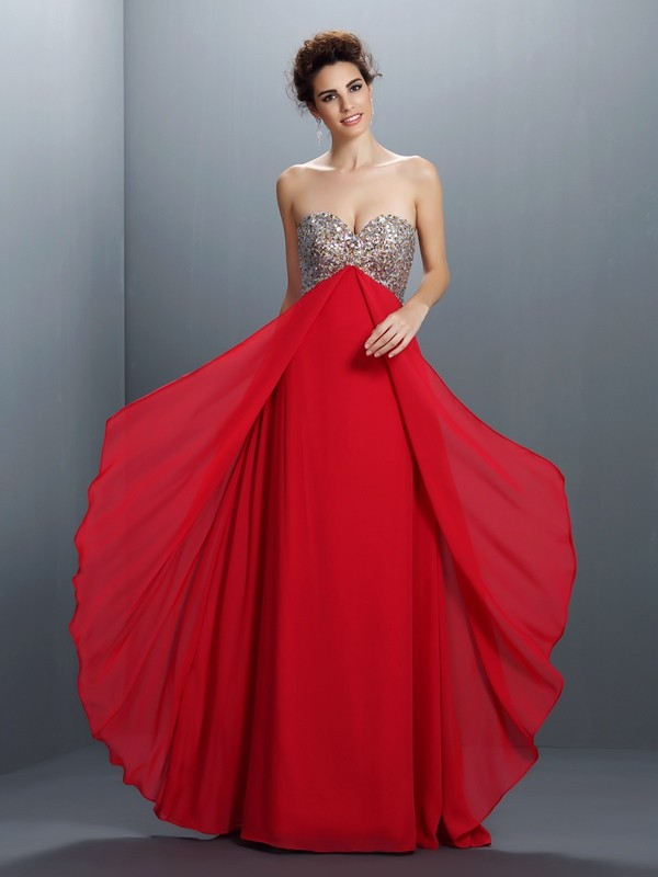 A-Line/Princess Sweetheart Sleeveless Floor-Length Chiffon Dresses with Beading Paillette