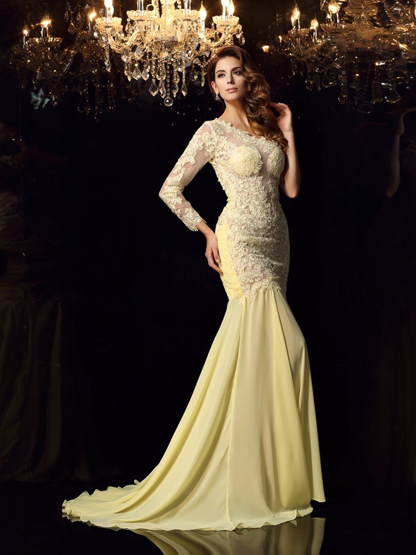 Trumpet/Mermaid One-Shoulder Long Sleeves Chapel Train Chiffon Dresses with Applique