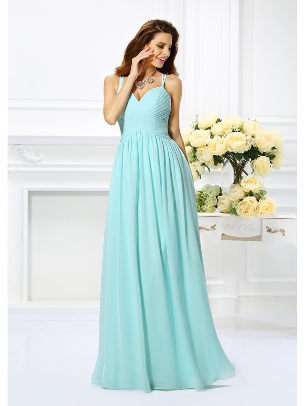 A-Line/Princess Spaghetti Straps Sleeveless Floor-Length Chiffon Dresses with Pleats