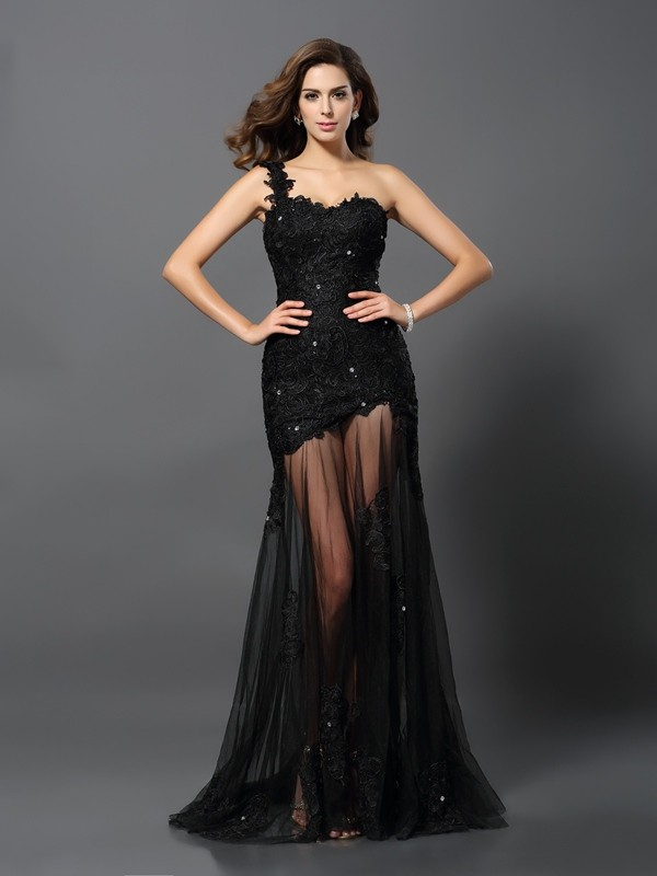 Sheath/Column One-Shoulder Sleeveless Sweep/Brush Train Lace Dresses with Applique